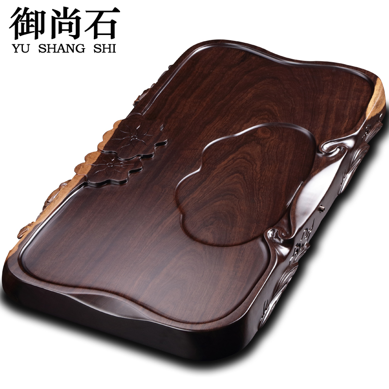 Royal still inblock genuine natural stone tea ebony wood mahogany tea sets tea sea wood tea tray drainage saucer
