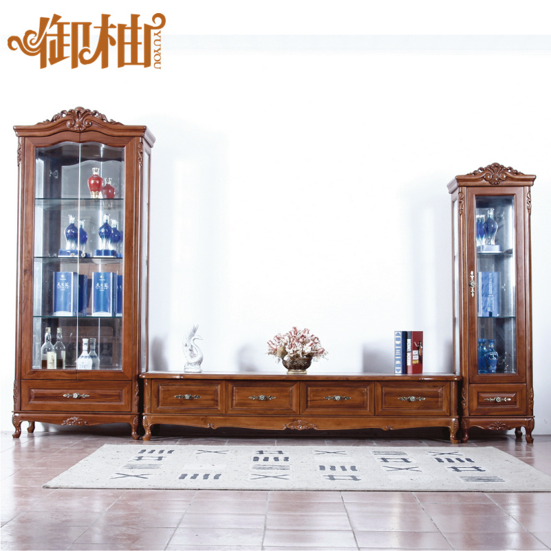 Royal youyou teak furniture cabinet continental combination of solid wood tv cabinet modern minimalist tv cabinet tv cabinet lockers aigui