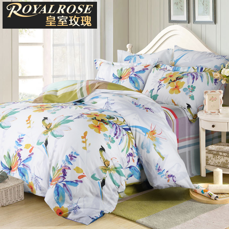 Royalrose sophisticated suite family of four cotton reactive printed bedding linen quilt cotton 4 sets