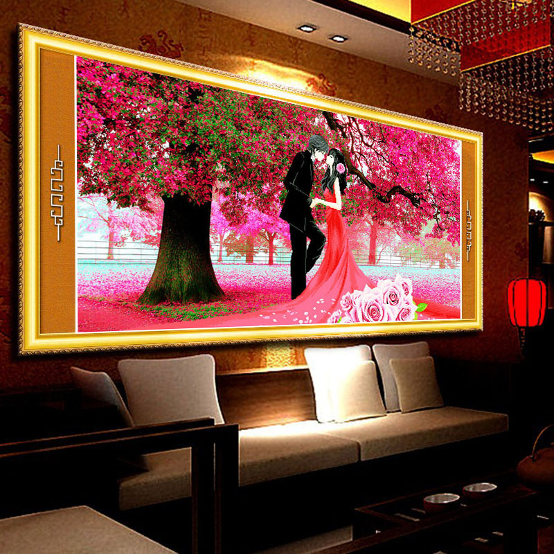 Rubik's cube spire round diamonds painted cherry trees wedding romantic wedding gift living room 5d full diamond drill dmc embroidery