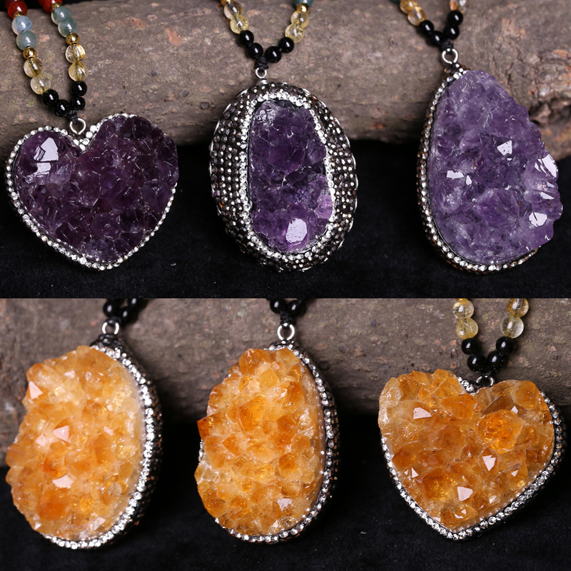 Ruffin natural amethyst pendant amethyst pendant shaped pieces of ore yellow crystal clusters original stone necklace sweater chain necklace