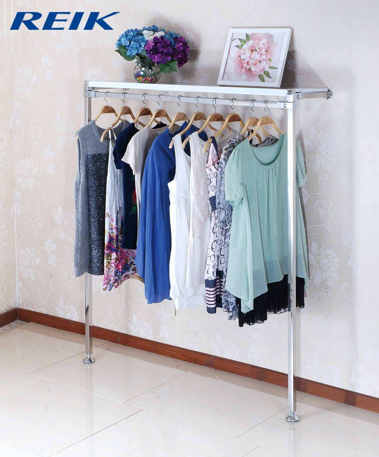 garment on closet duty wardrobe organizer wheels rolling clothing rack storage portable furniture clothes heavy sturdy hanging double