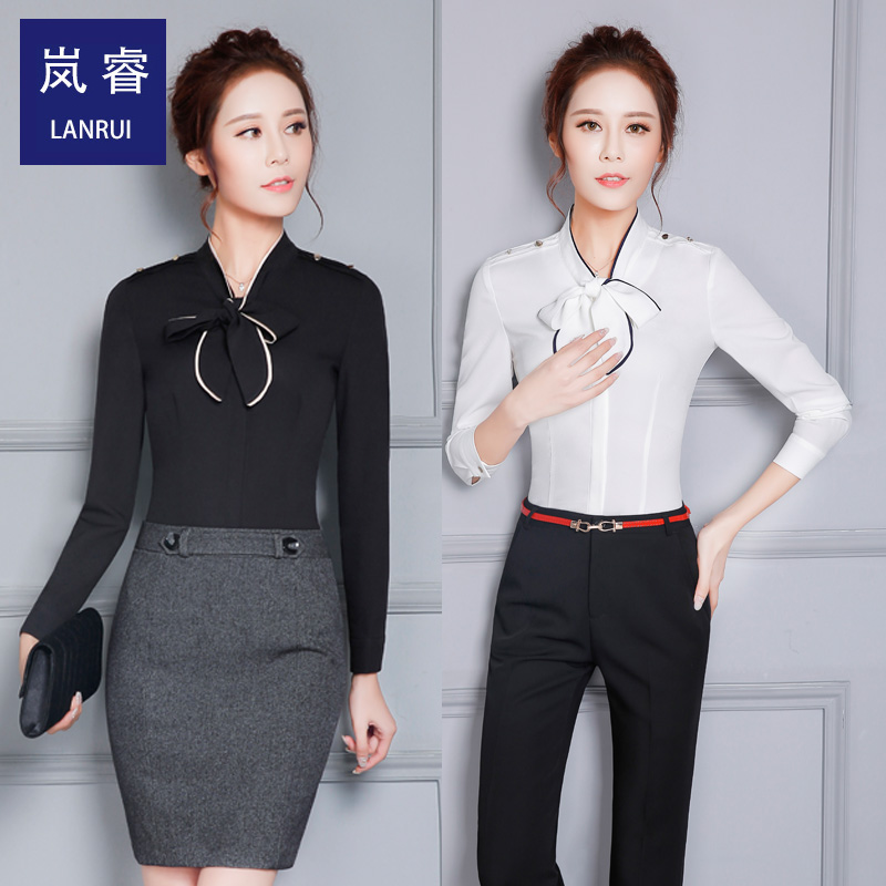 Rui lan 2016 new fashion temperament career suits ladies skirt bow tie bow tie collar blouse