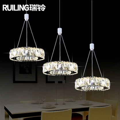 Rui ling crystal pendant lamp modern minimalist stainless steel circular dining room lighting stylish restaurant lights chandelier three