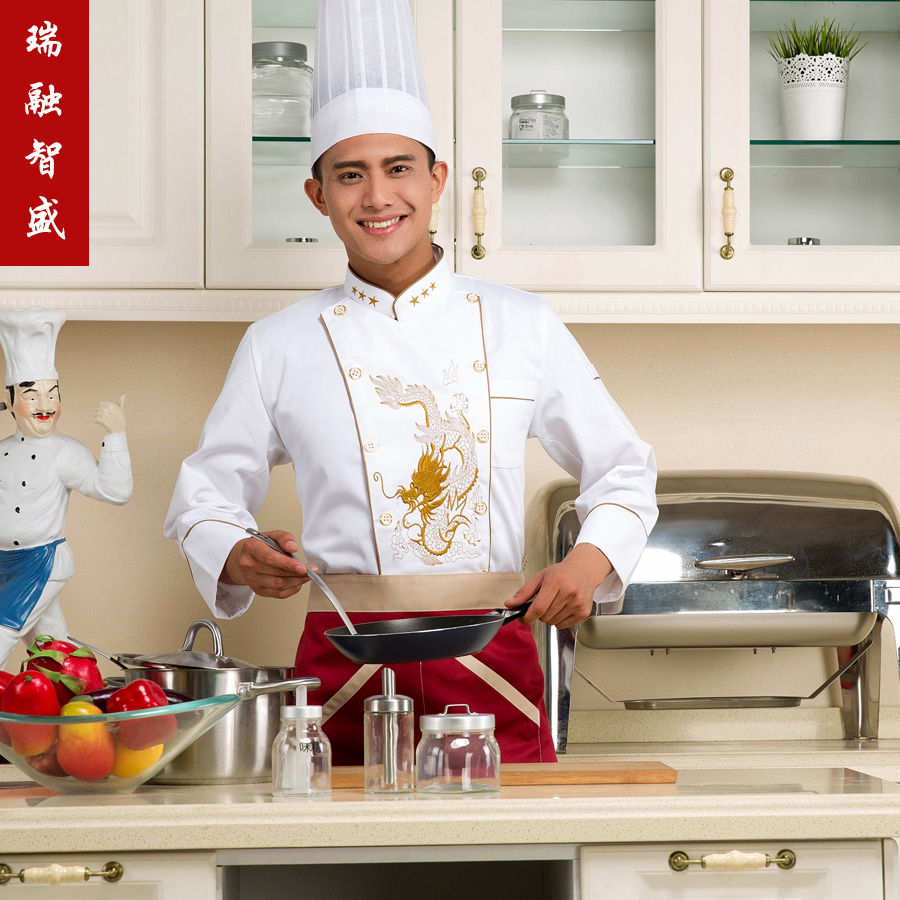 Rui rong chi shing chef overalls fall and winter clothes hotel chef uniforms fall and winter clothes chef clothing embroidered dragon