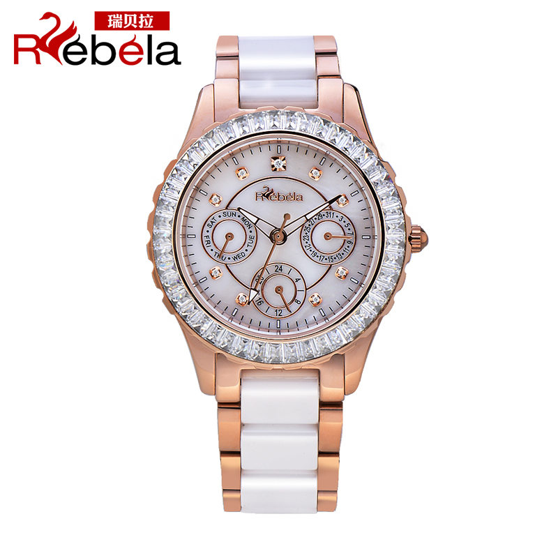 Ruibei la female white ceramic watches fashion big dial quartz ladies watches korean female form gift
