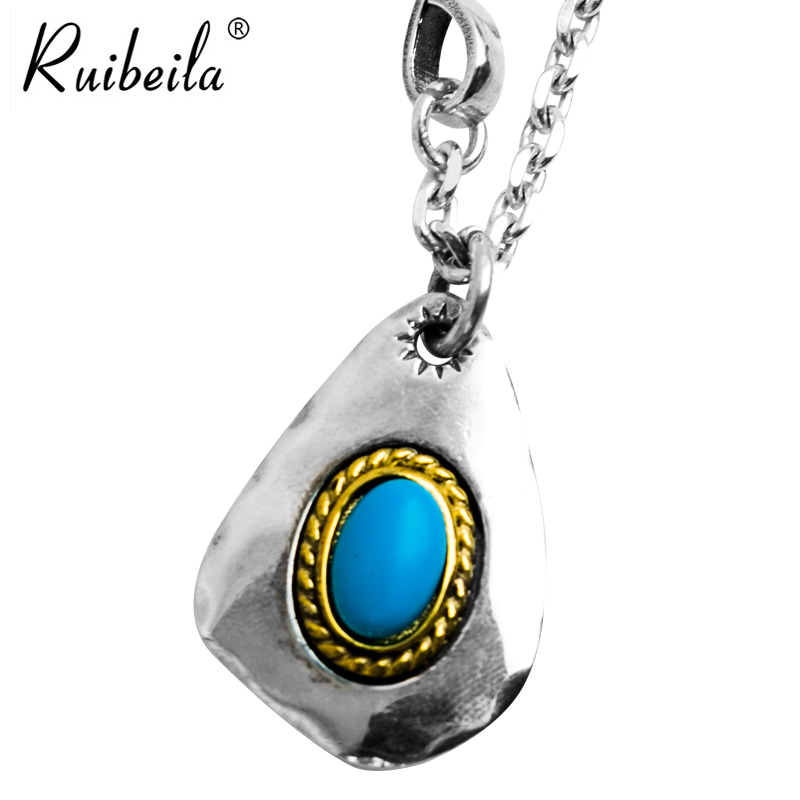 Ruibeila925 goro takahashi indian holy cards thai silver inlaid gemstone pendant necklace jewelry for men and women