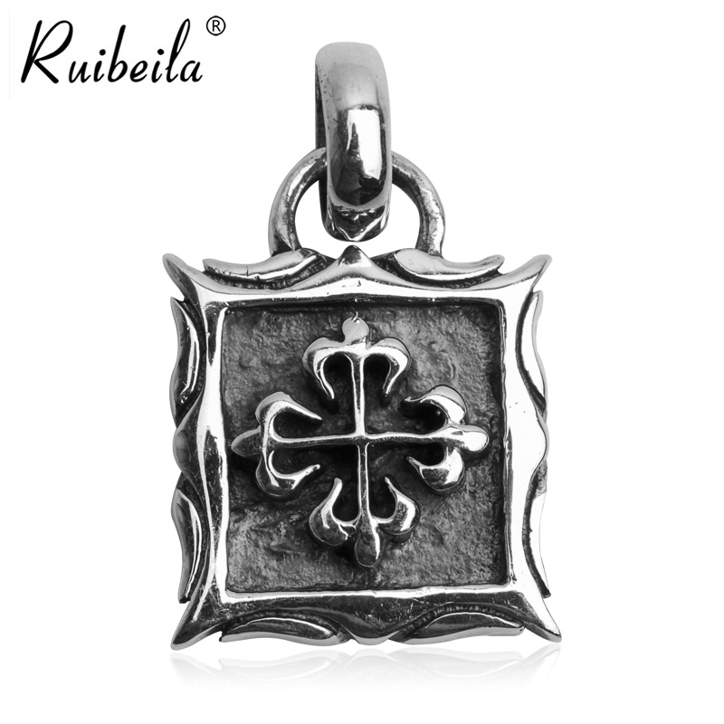 Ruibeila925 silver cross men and women spend thai silver retro punk personality square frame pendant necklace pendant