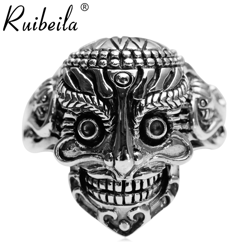 Ruibeila925 silver retro skull ring silver ring finger ring men's punk personality classical