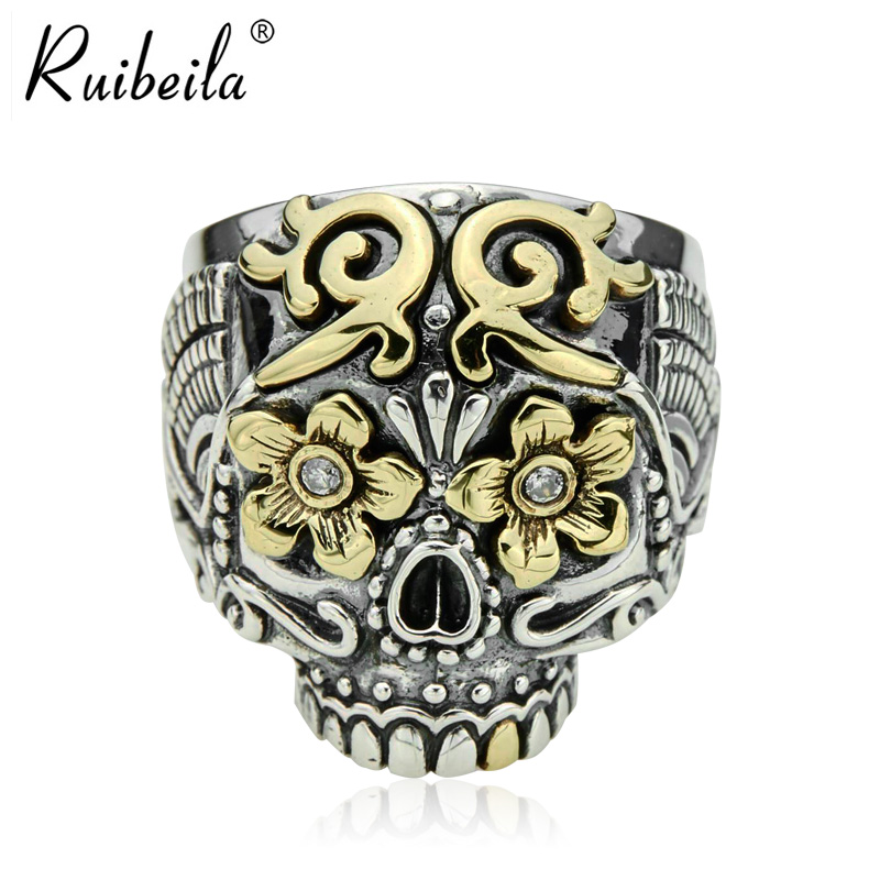 Ruibeila925 silver thai silver rings for men ring finger ring personality carved skull punk atmosphere thick