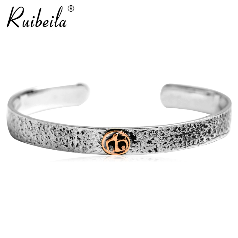 Ruibeila925 silver to do the old retro men's open mouth wide bracelet european and american personality sterling silver bracelet silver eagles