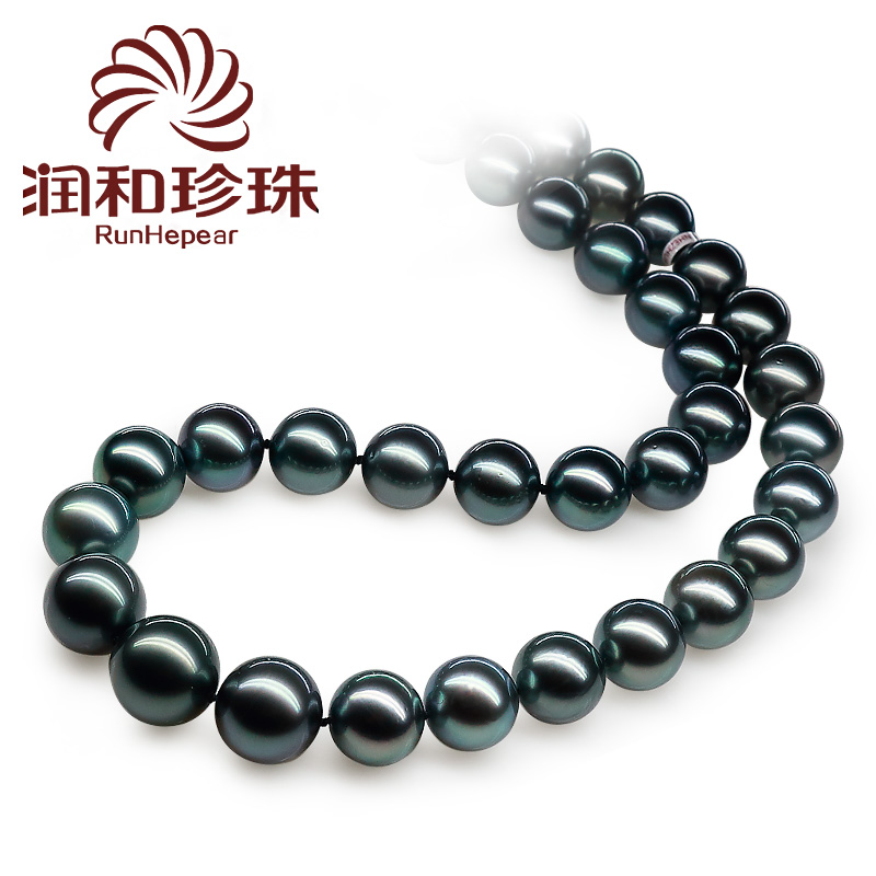 Run and jewelry such as cold 11- 13mm days of the black sea black pearl necklace perfect circle natural high xingjiebi Paragraph