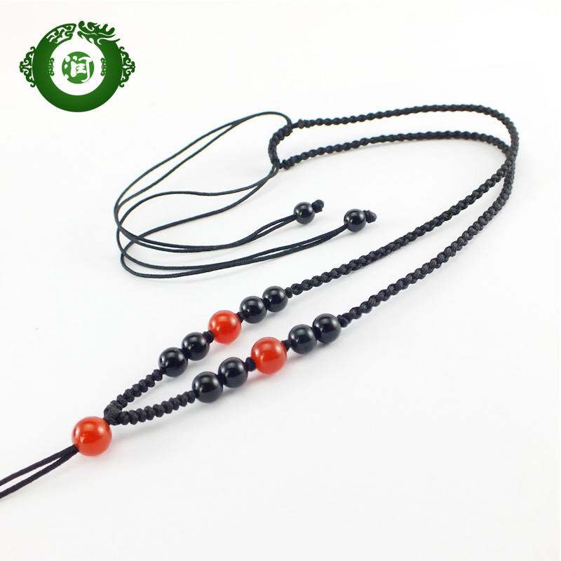Run aquatic diy handmade natural black and red agate pendant necklace rope rope pendant with lanyard jade jade 031002