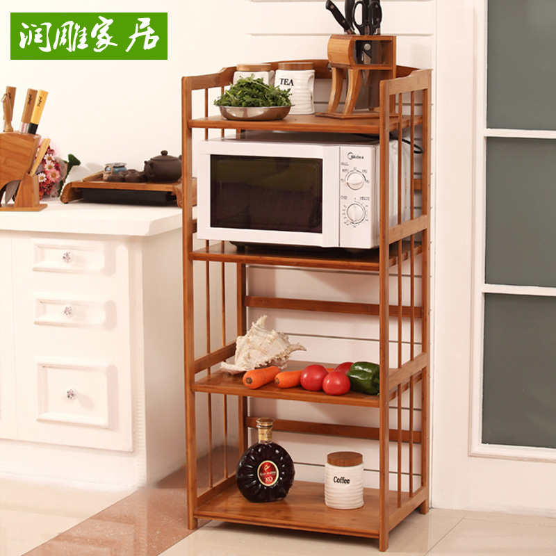 Run carved bamboo microwave oven rack shelving racks kitchen storage rack shelving multilayer wood storage rack