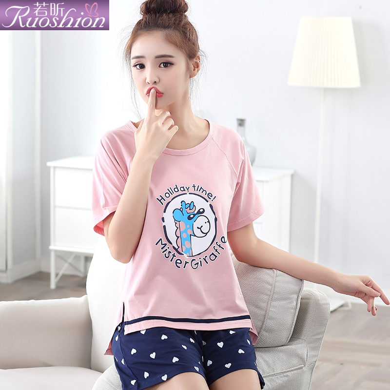 Ruoxin pajamas miss han ban 2016 summer short sleeve cotton pajamas cute female cartoon fashion tracksuit suit