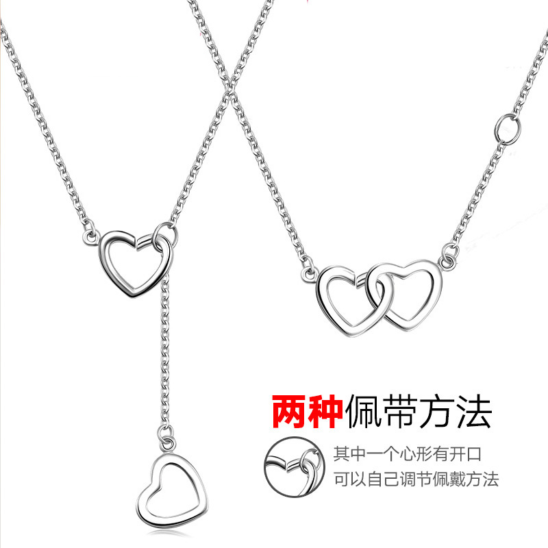 S925 silver color silver jewelry rose gold plated double heart two wearing a necklace female south korean short paragraph about jane subclavicular Chain