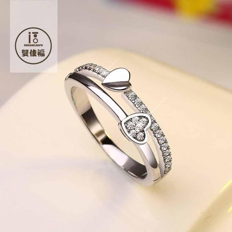 S925 sterling silver jewelry female ring finger ring korean version of the heart diamond ring simple and when shang tide send girlfriends lettering