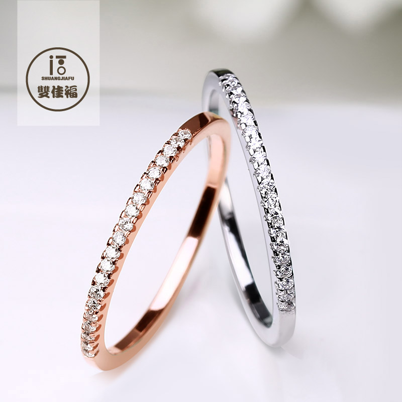 S925 sterling silver rings female tail ring finger ring korean influx of people simple rose gold lettering to send his girlfriend girlfriends pinkie