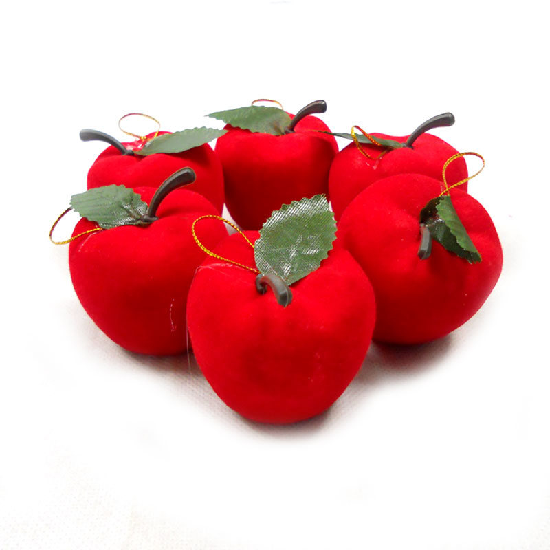 Sa odd flocking red apple christmas gifts christmas tree decorations christmas red apple 6