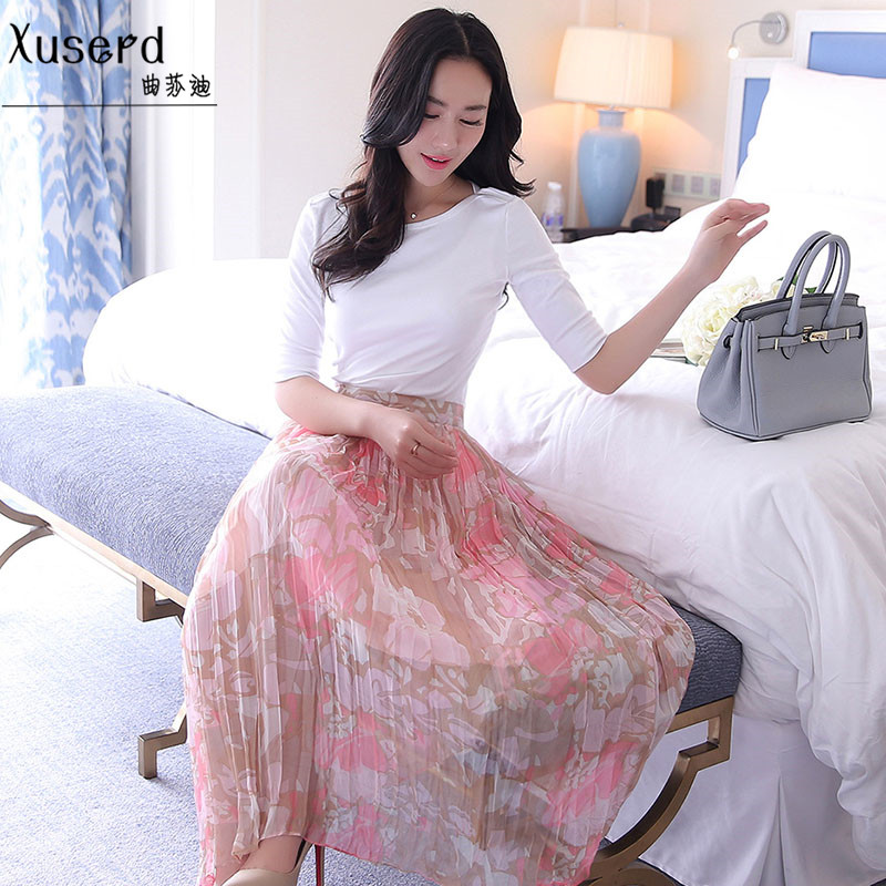Sadie song 2016 autumn new women korean fashion solid color t-shirt printing long skirts suit fashion c