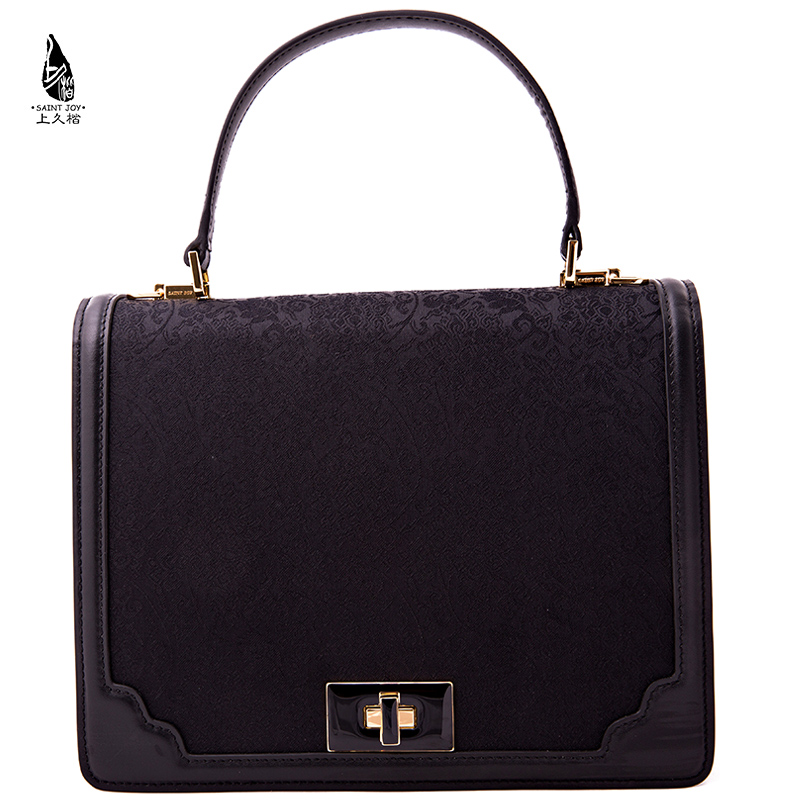 Saintjoy/ms. song jin kai on long neck bag leather black interlocking pattern. black