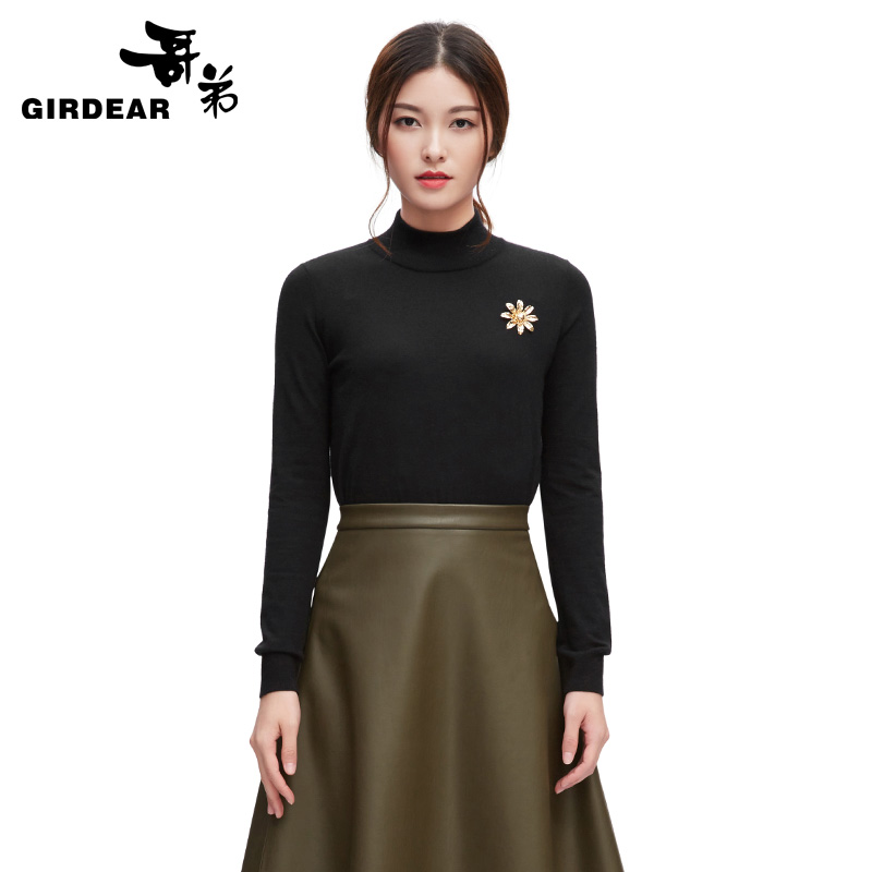 [Sale] 2016 early autumn new gedi cashmere pullover sweater and a half high collar wild multicolor 790182
