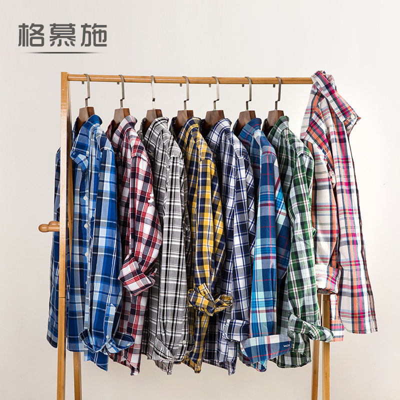 Sale of american casual cotton thin section autumn new large size men's long sleeve shirt classic plaid long sleeve shirt