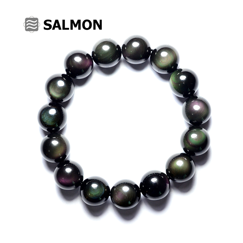 Salmon purple and green eyes double rainbow obsidian eye bracelet full moon eye obsidian crystal bracelets for men and women couple