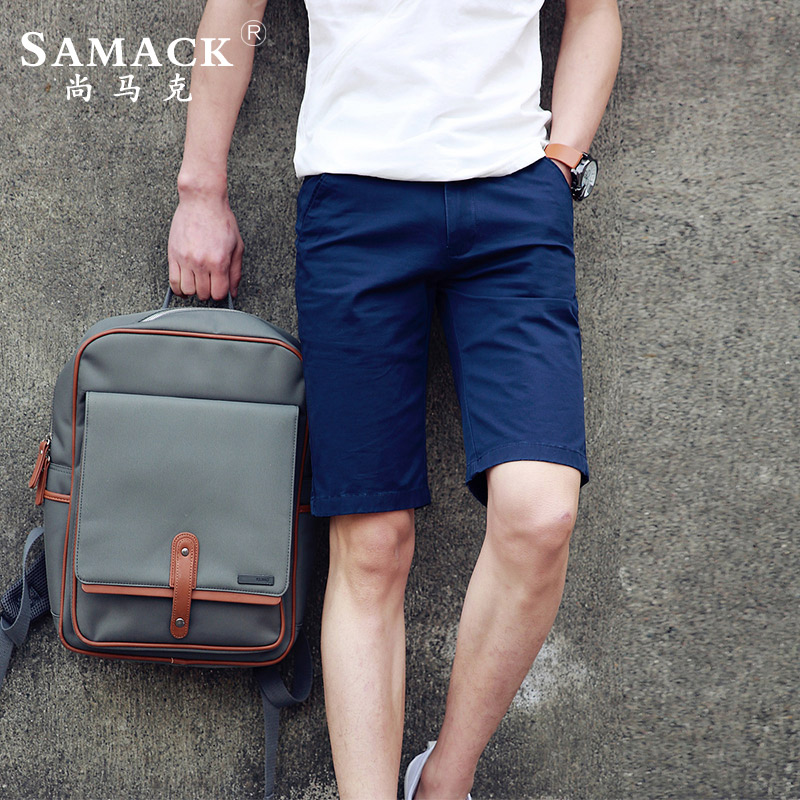 Samack/still mark large size casual shorts male summer new men five pants slim straight solid color trousers tide