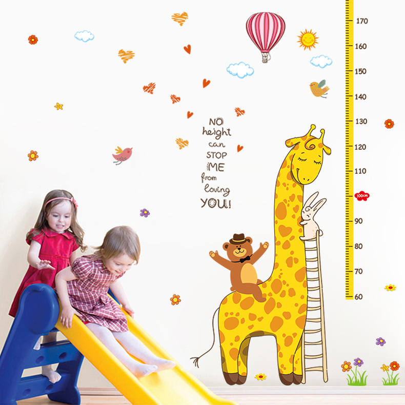 Samelitter and giraffe height stickers children's room height stickers wall stickers wall decoration sticker kindergarten card flux