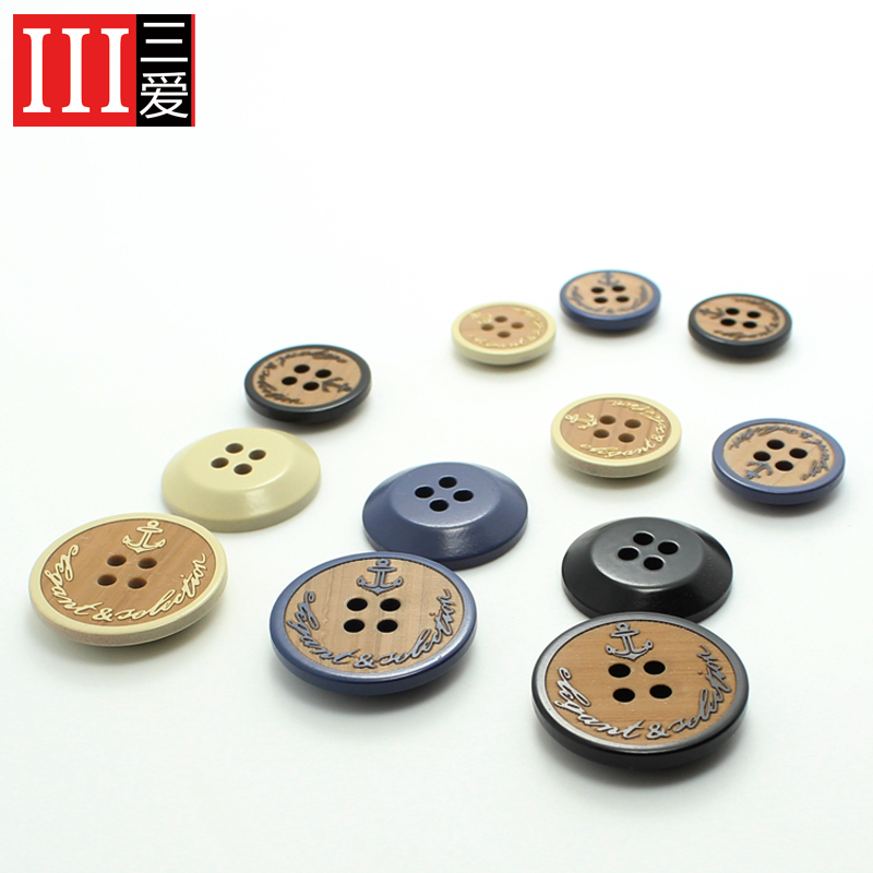 Sanai accessories monopoly grade resin buttons buttoned suit exquisite wood anchor buttons beige black
