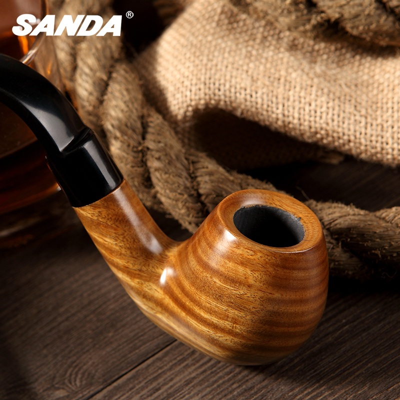 Sanda sanda upscale green ebony wood pipe handmade curved pipe tobacco bucket genuine gift box