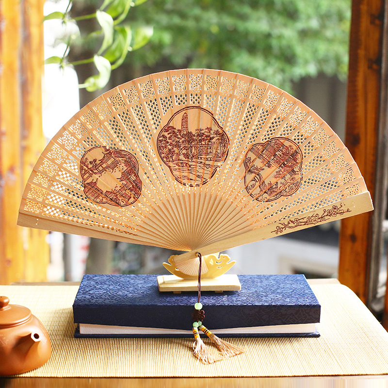 Sandalwood fan folding fan chinese style women suzhou gifts antiquity burma fragrant wood folding fan female