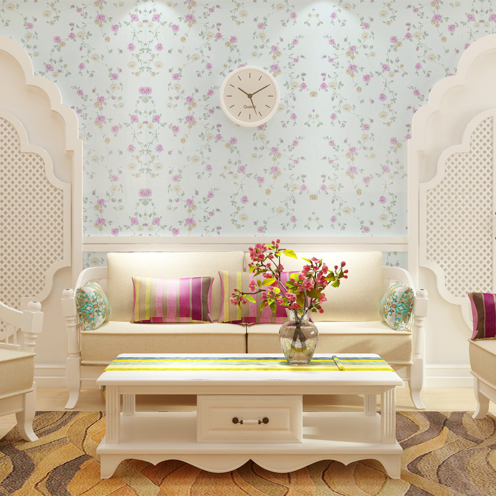 Sanhe brand pvc adhesive wallpaper wallpaper 《 》 lying off the children's room wallpaper fresh garden flowers 2009