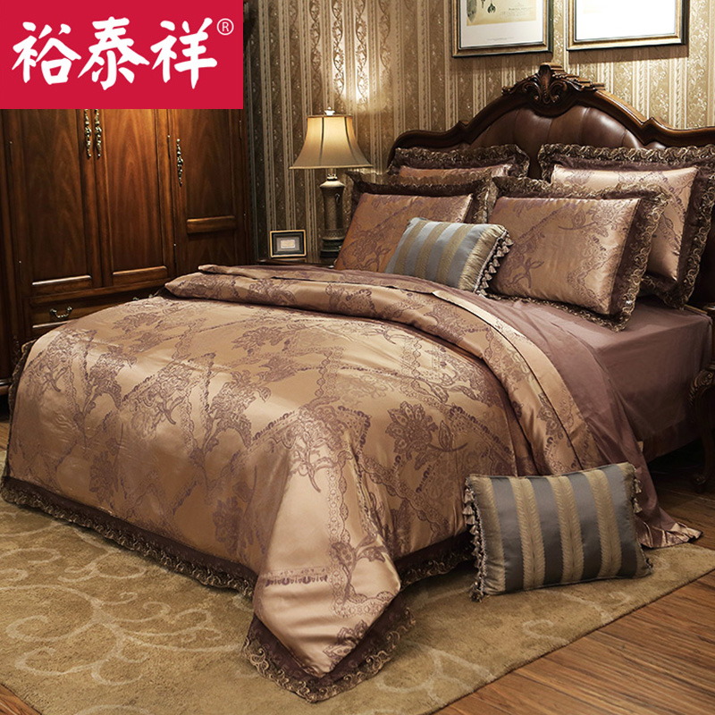 Satin jacquard cotton denim wedding quilt 1.51.8m m bedding a family of four sets of cotton bed linens continental