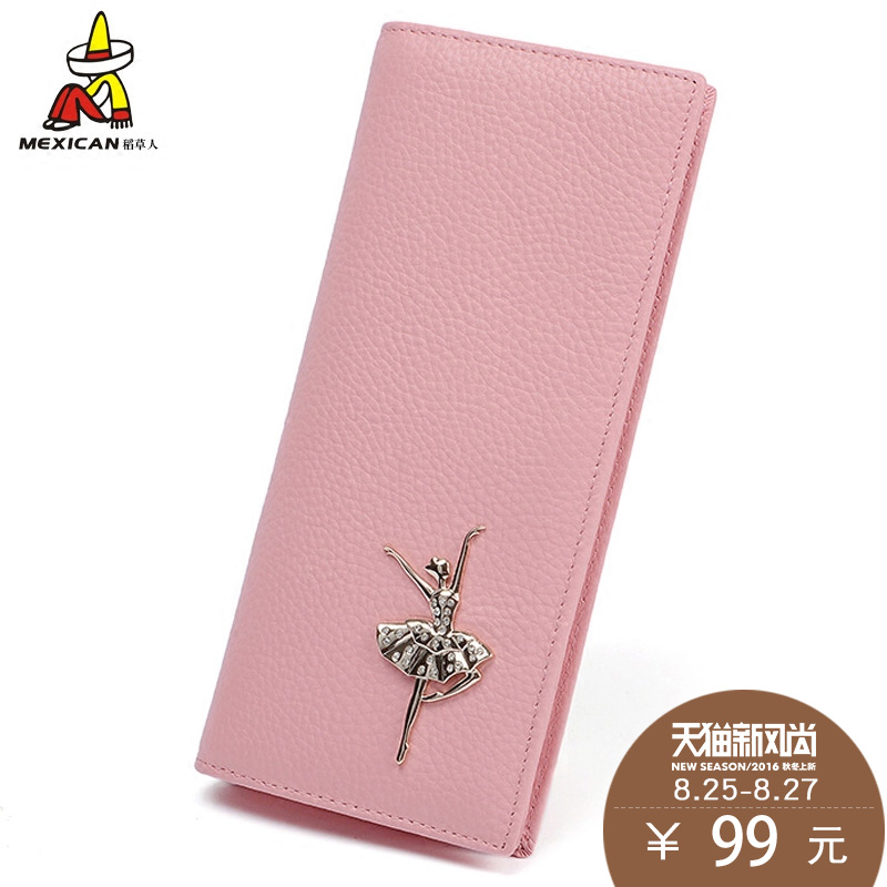 Scarecrow ladies leather wallet female long section bills folder korean version of the influx of 2016 new men's money clip clip two fold wallet hasp