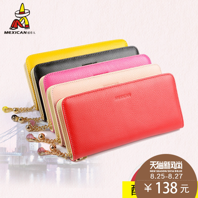 Scarecrow wallet female long section bills folder zipper soft leather handbag leather clutch wallet korean version wallet