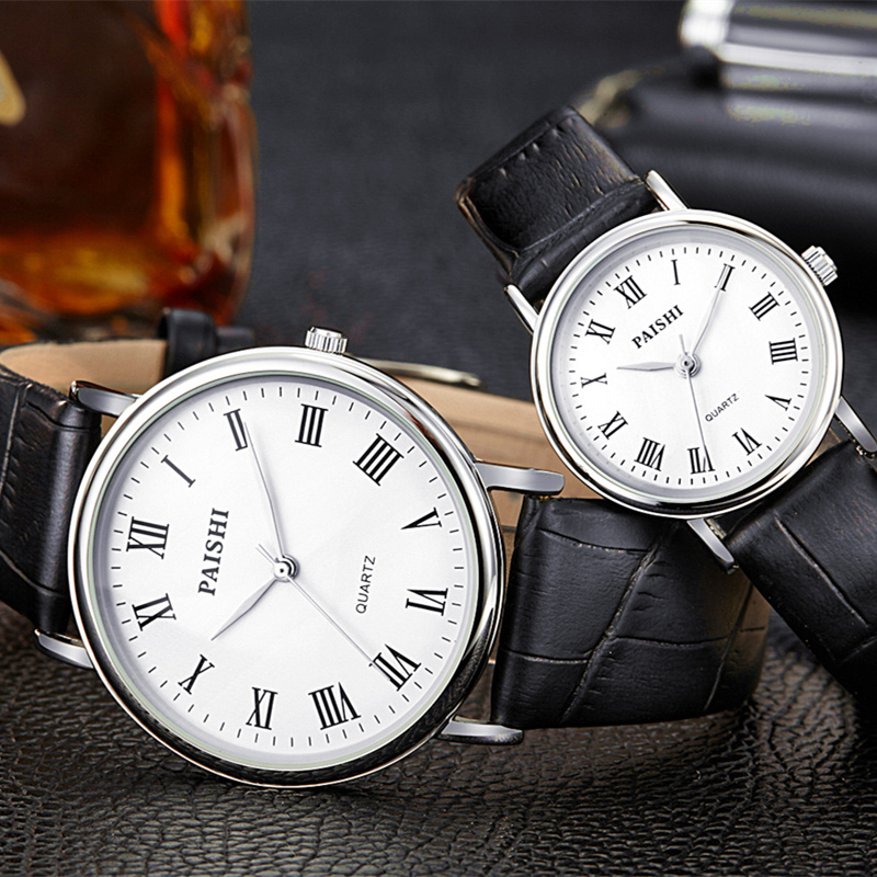 School official authentic thin waterproof men's watch simple and stylish genuine leather belt male table quartz watch female form couple tables