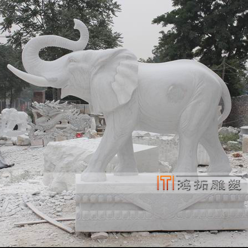 [Sculpture]鸿æsculpture quyang stone carving marble stone elephant elephant ornaments outdoor HT1243