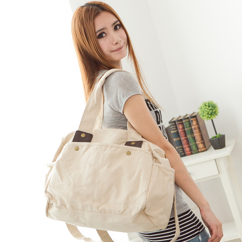 Sea exquisite new canvas bag influx of women bag korean shoulder bag messenger bag fashion bag big bag influx of women