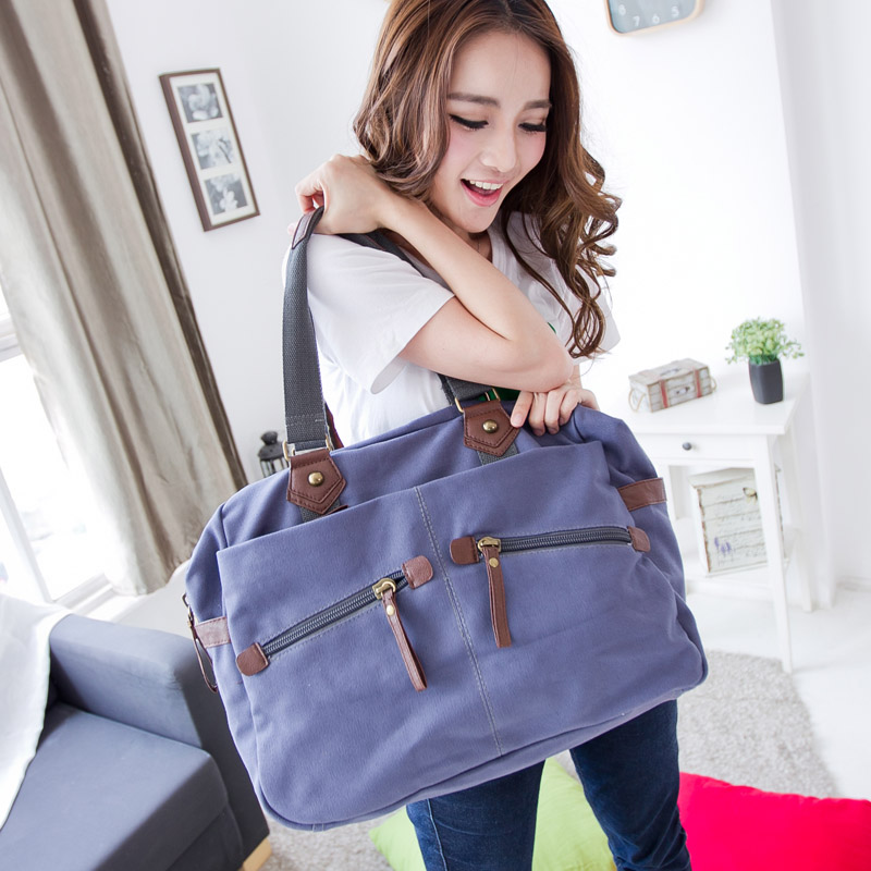 Sea exquisite new men's handbag large bag canvas bag korean version of the influx of women bag shoulder bag messenger bag travel bag