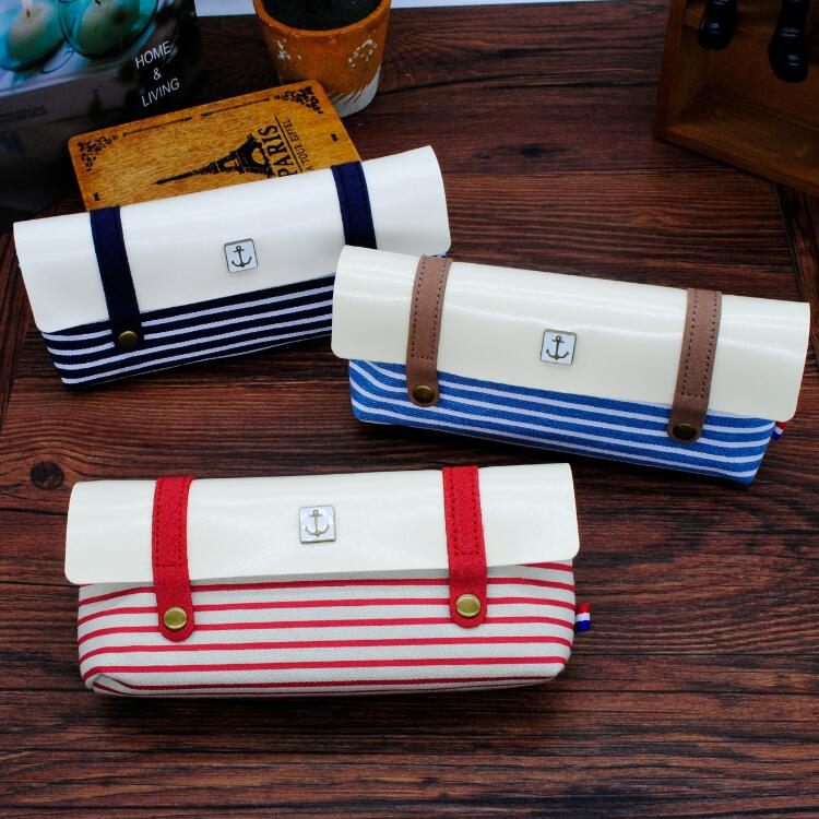Sea spirit wind navy striped wind clamshell zipper pencil pencil student stationery cute retro pencil case for children