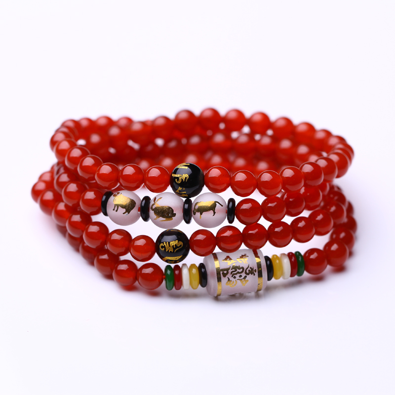 Sealed air 108颗triple zodiac couple of natural red and black agate beads bracelet multilayer multiturn beads