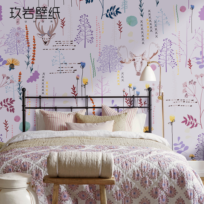 Seamless wall covering nine rock wovens romantic bedroom wallpaper murals tv backdrop wallpaper embrace nature