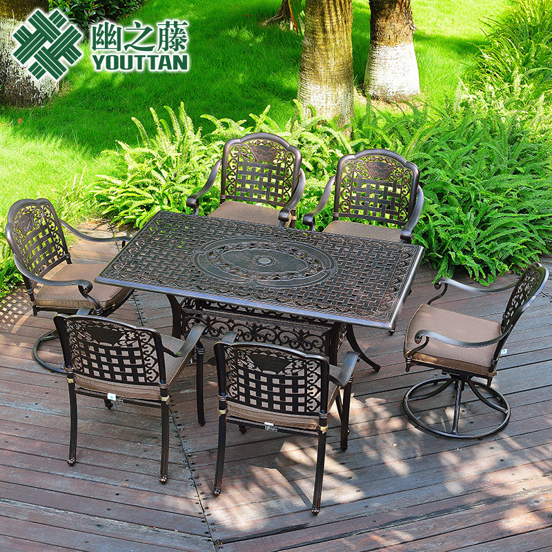 Secluded vine cast aluminum tables and chairs for outdoor wrought iron tables and chairs combination balcony leisure furniture outdoor patio dining tables and chairs