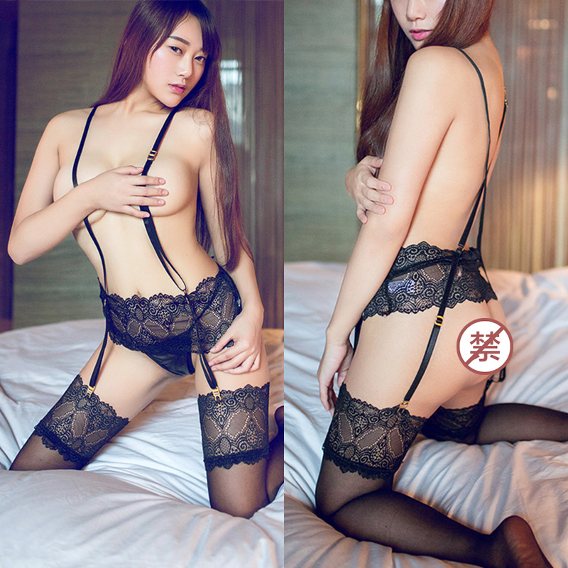 Selebritee sexy lingerie sexy temptation lace garter stockings suspenders one strap piece suit female