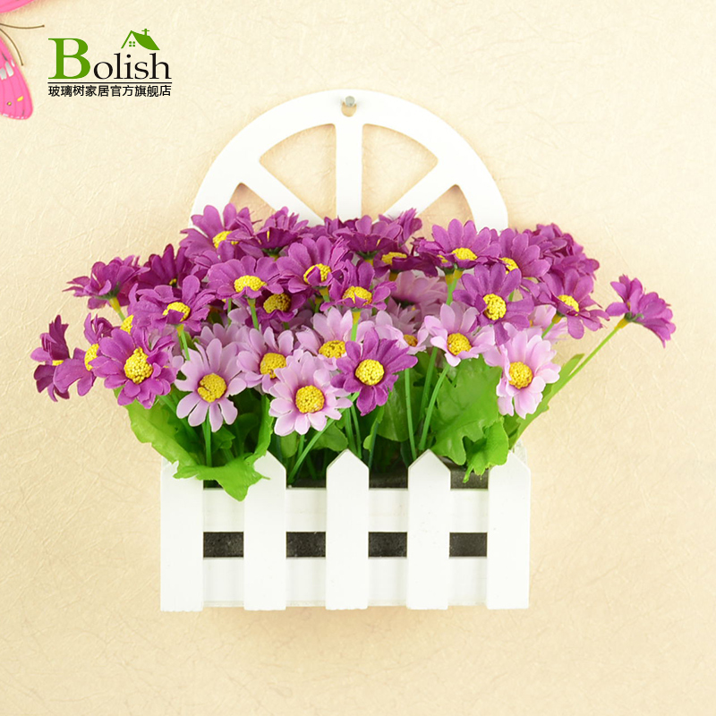 Semicircle simulation flower flower wooden fence white wooden fence wall fence flowerpot vase flower baskets desktop ornaments