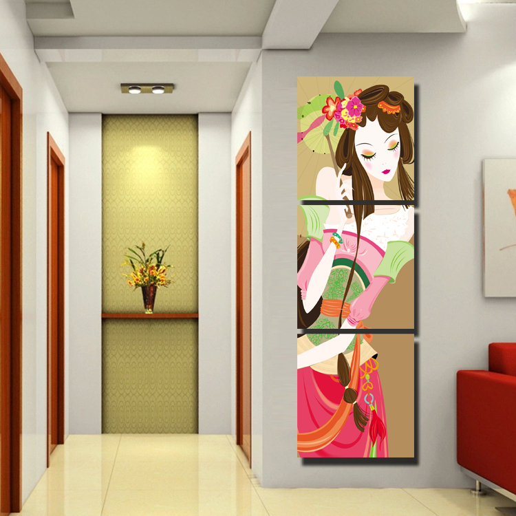 Send engraved crystal glass ice painting beautiful figure entrance frameless painting decorative painting mural painting hanging