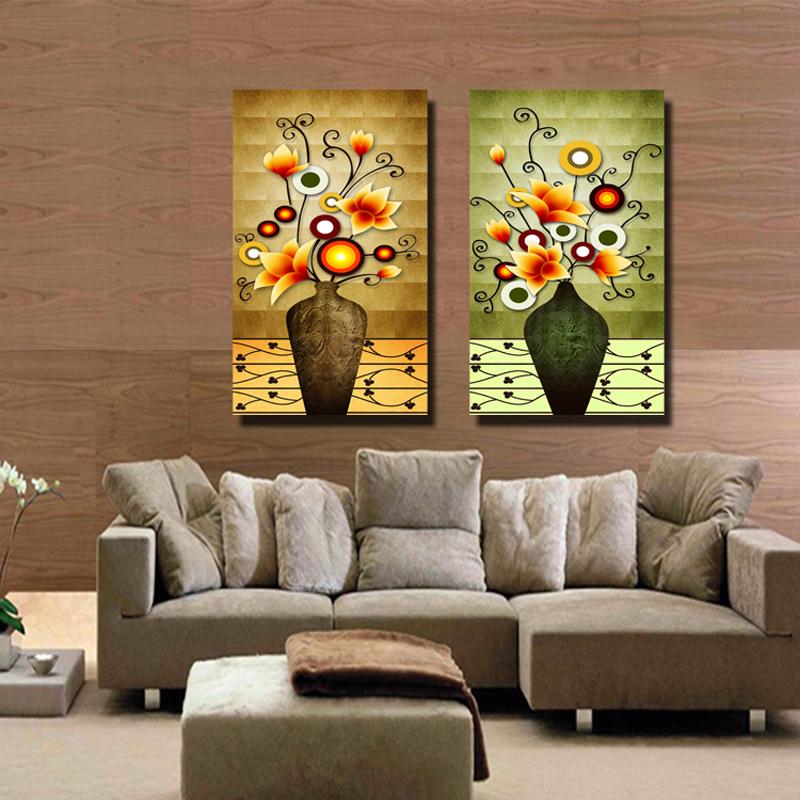 Send engraved crystal glass ice painting decorative painting modern restaurant mural painting the living room vase paintings frameless painting two linked