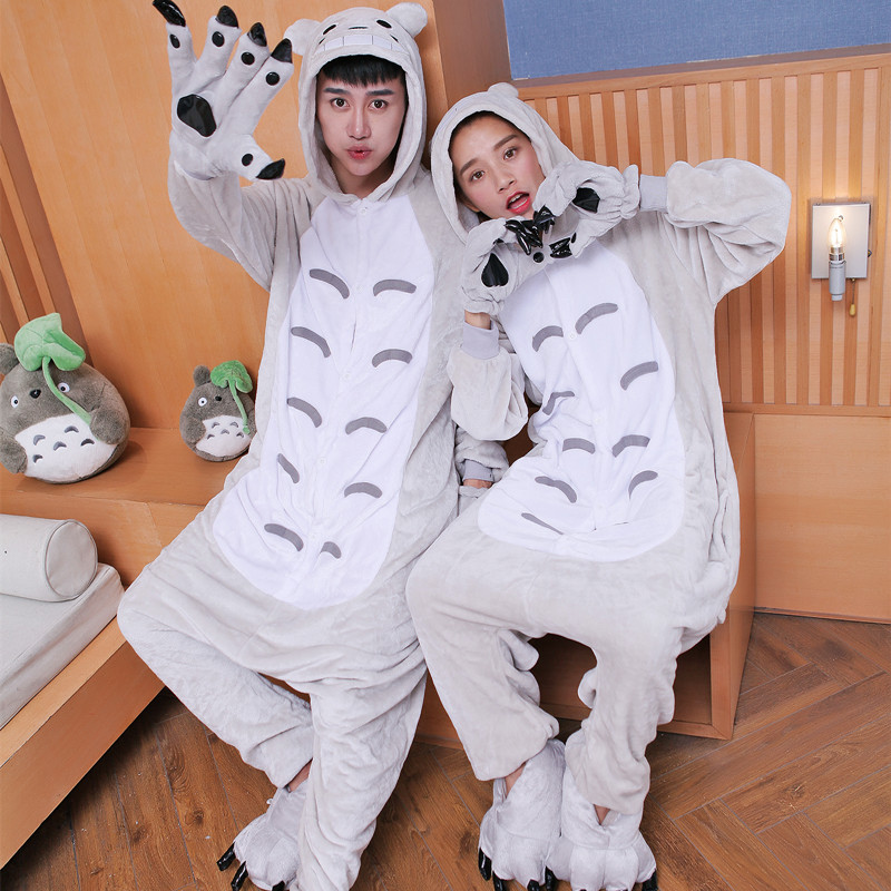 Send paw cartoon cat panda animal dinosaur piece flannel pajamas women suit tracksuit couple autumn and winter